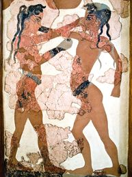 "Wandmalerei der ""Boxer"", 3D-Rekonstruktion einer Wandmalerei aus Akrotiri"