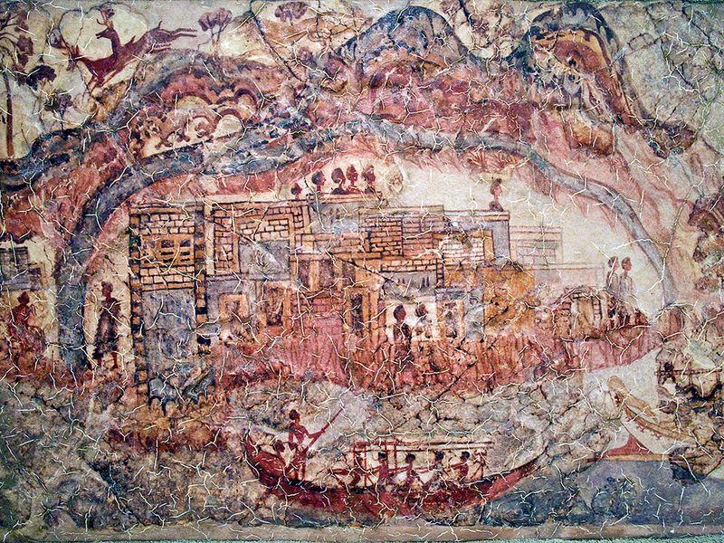 Das minoische Wandgemälde der Kaldera von Santorin (c) Tobias Schorr
