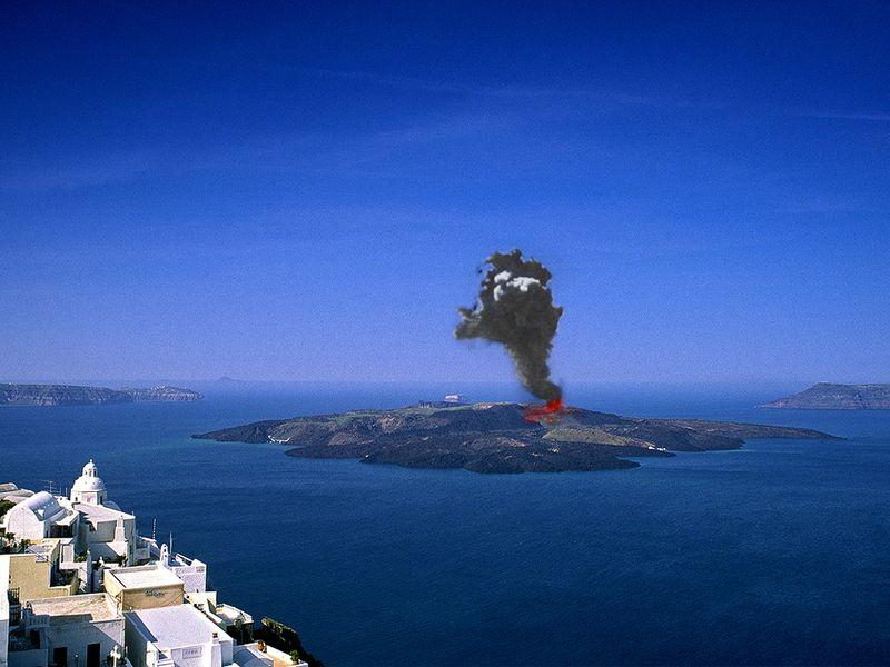 So könnte es aussehen, wenn der Vulkan ausbricht... (Montage) (c) Tobias Schorr
