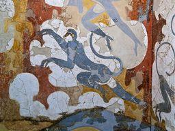 Minoisches Wandgemälde mit Affen im Museum in Thira. (c) Tobias Schorr
