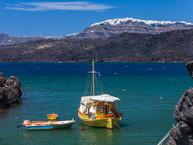 Blick über die Bucht von Palia Kameni auf Thira. (c) Tobias Schorr