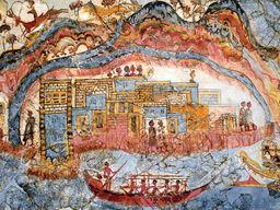 Eine der ältesten Darstellungen der Landschaft Santorins. (c) Tobias Schorr