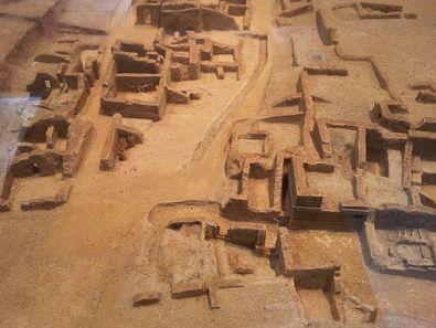 Modell der minoischen Ausgrabung von Akrotiri, aus der die meisten Funde stammen
