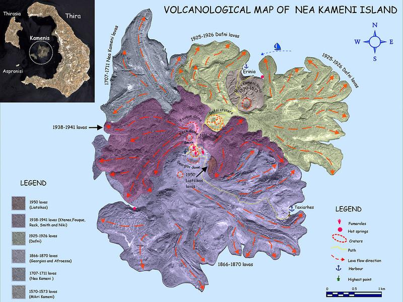 Eine einfache, geologische Karte der Insel Nea Kameni von Georgis Vougioukalakis IGME